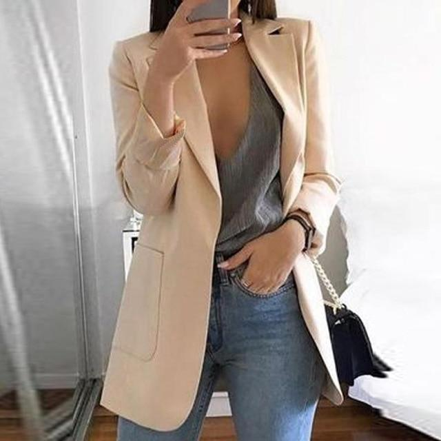 New Casual Women's Slim Long Sleeves Turn-Down Coat