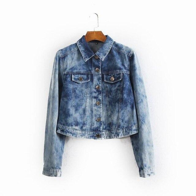 Tie-dying spring women fashion loose single breasted short design denim jacket