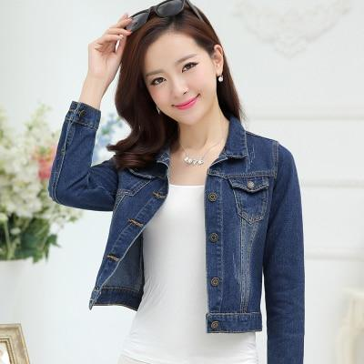 Spring women fashion slim water wash short design denim jacke