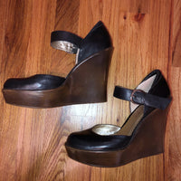 Jessica Simpson Black Brown Wedges 8