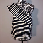Like New Small J. Crew Navy Blue White Striped One Shoulder Top