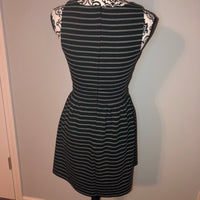 Medium Forever 21 Cut Out Black Grey Striped Dress