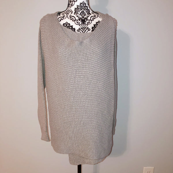 Barneys New York Grey Crossover Sweater Medium