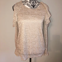 Carolina Belle Montreal M Medium Beige Lace Open Shoulder Blouse