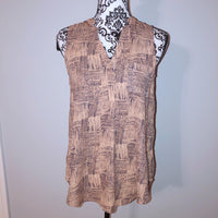 B_envied Small Patterned Blouse Coral V Neck