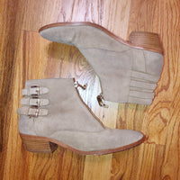Rebecca Minkoff Alex Suede Bootie Grey 6.5 Buckles Zipper Front retail $300