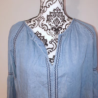 Knox Rose Small Chambray Embroidered Top