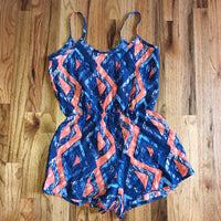 Small Foreign Exchange Blue Orange Romper