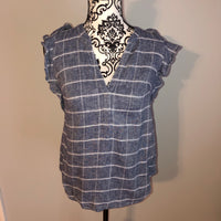 XS Old Navy V neck Chambray Ruffle shoulder Shirt