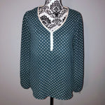 Xhilaration Small Green Polka Dot Chiffon Blouse