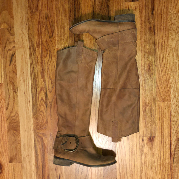 Steve Madden 6 Riding boot Knee High buckle brown