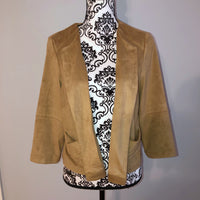 Chico's Camel Tan Suede like Jacket Size 1 which is a Mediums in Chico's
