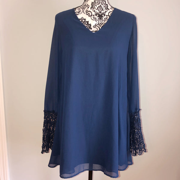 Umgee Medium Navy Blue Chiffon Crochet