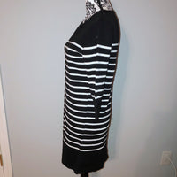 Small Lumiere Black White Striped Sweater Dress