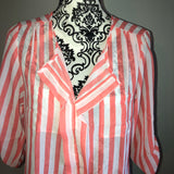 Large Chocolate pink white Striped Chiffon Blouse