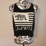 Four Girlz L Large California Flag Black Graphic Tank Top