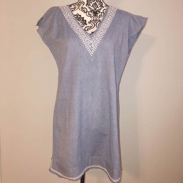 Anthropologie S/M Mermaid Embroidered Chambray Dress