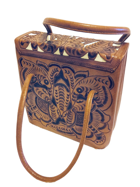 "Art Mex vintage leather purse. 60's great condition hand tooled. 10"" tall and wide. Bottom depth is 4.5"""