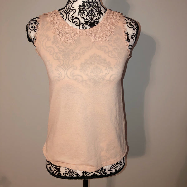 Top Shop 2 pale pink crochet tank top