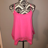 Small Forever 21 Hot Pink Crochet Flowy Tank Top