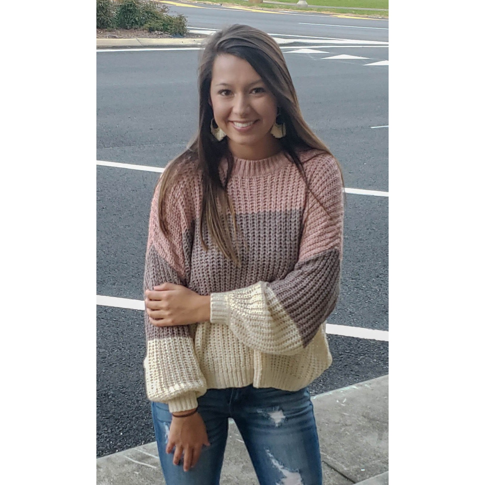 Color Blocked Light Knit Sweater