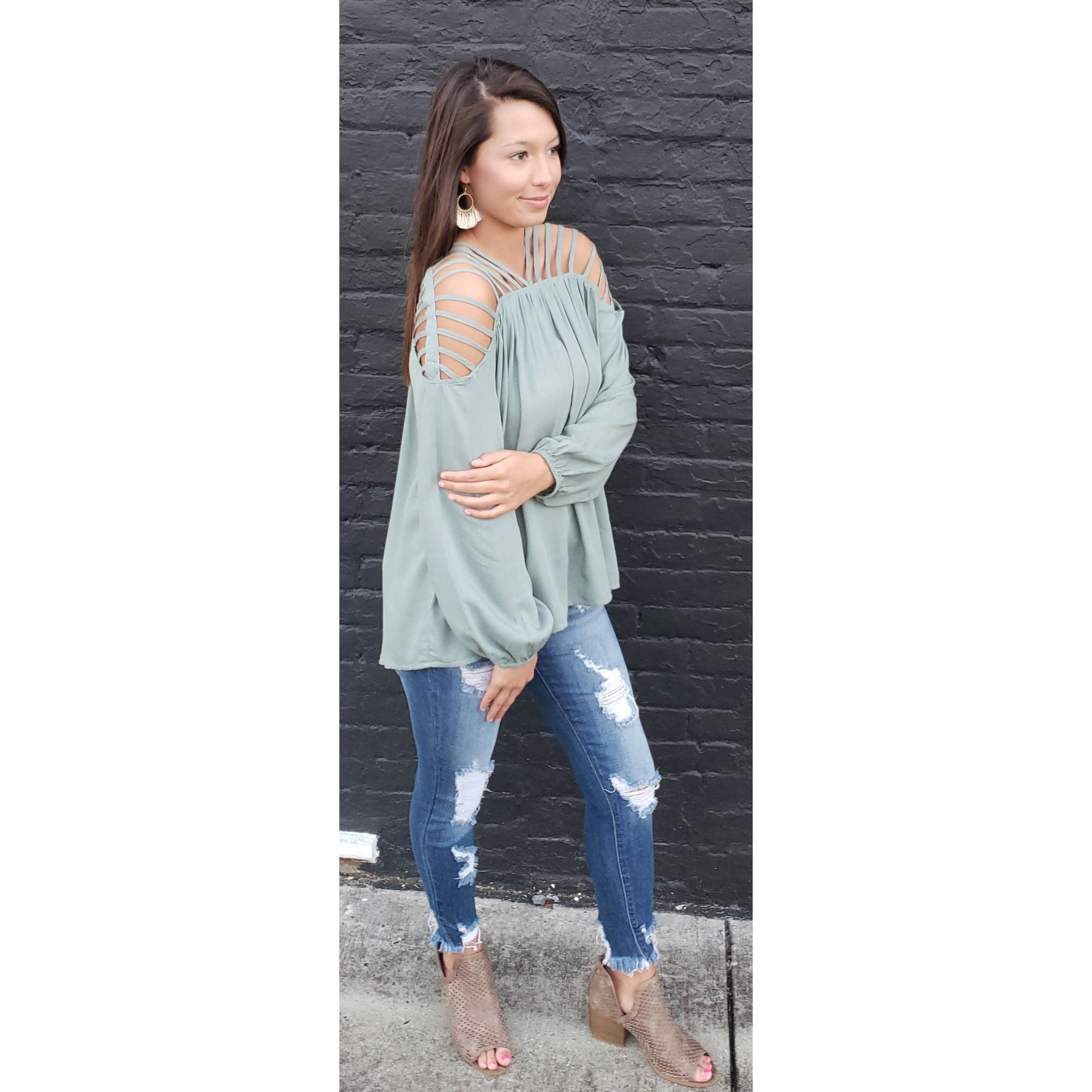 Sage Strappy Shoulder Top