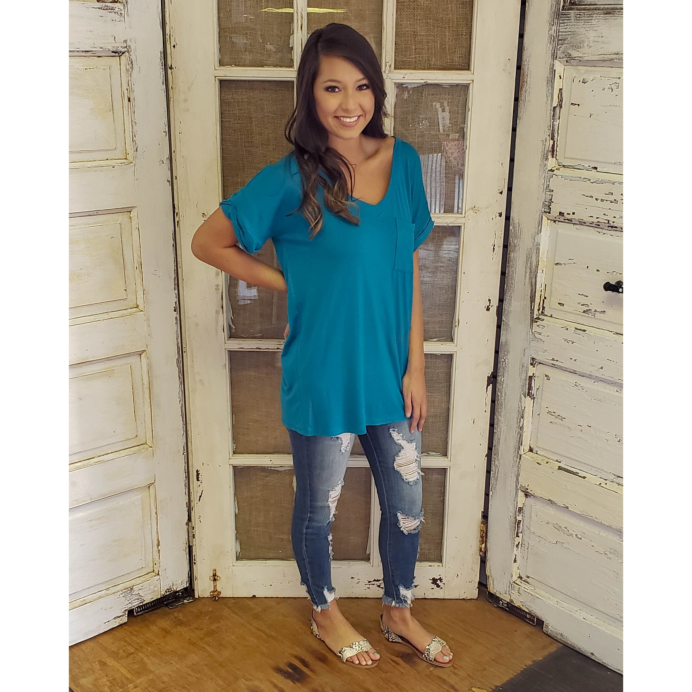 Teal Pocket Tee