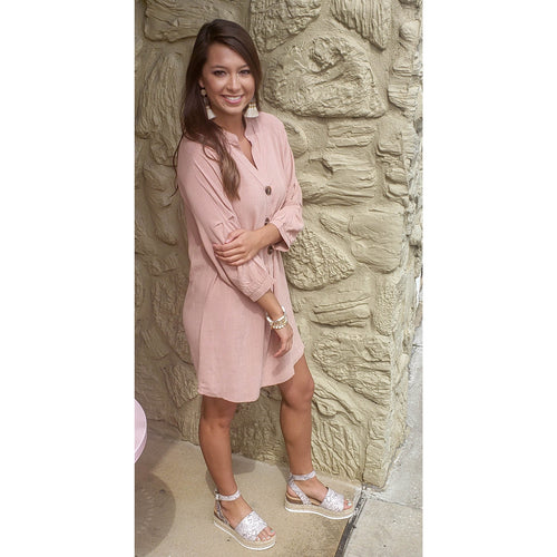 Dusty Peach Woven Dress