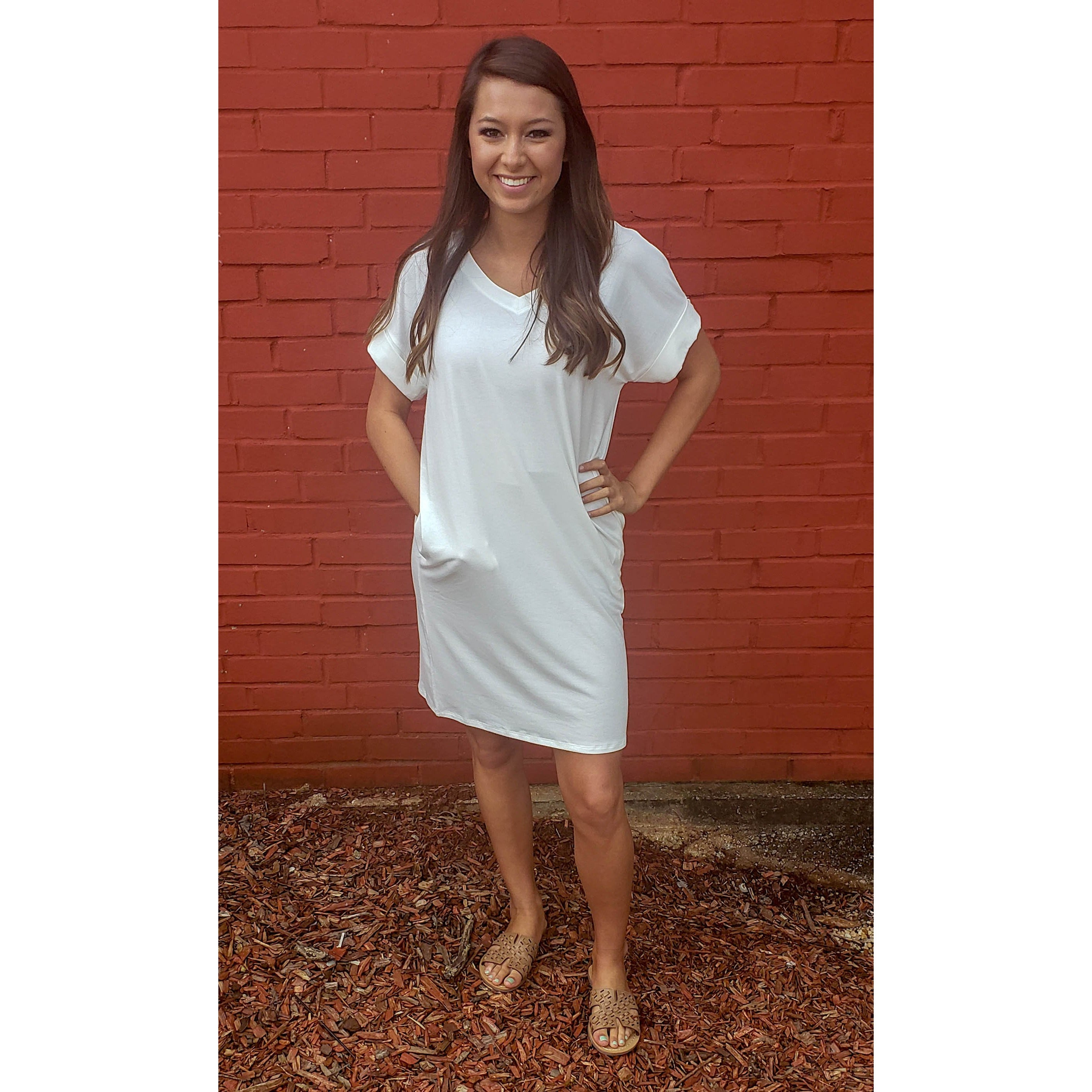 Ivory Rolled Sleeve Dress