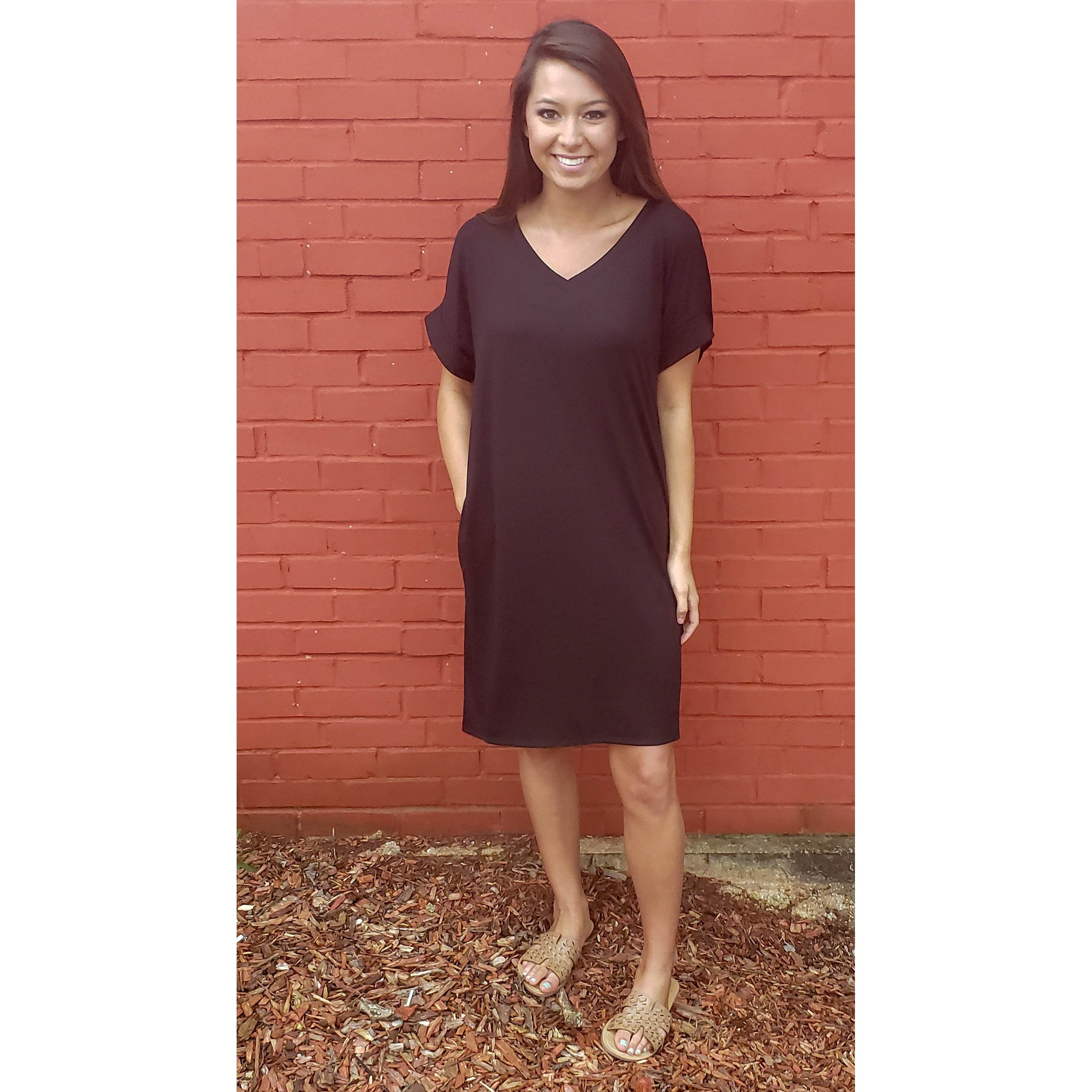 Black Rolled Sleeve Dress