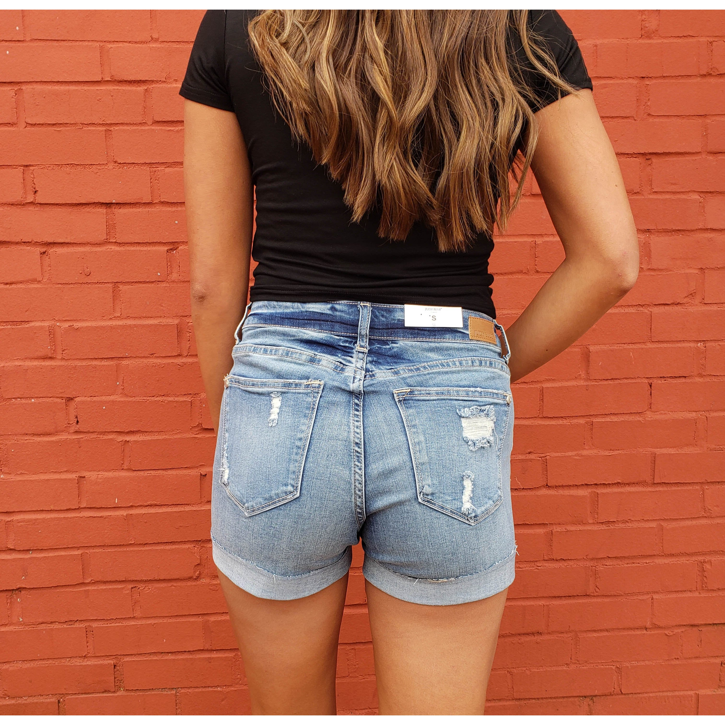 Light Denim Cuff Shorts