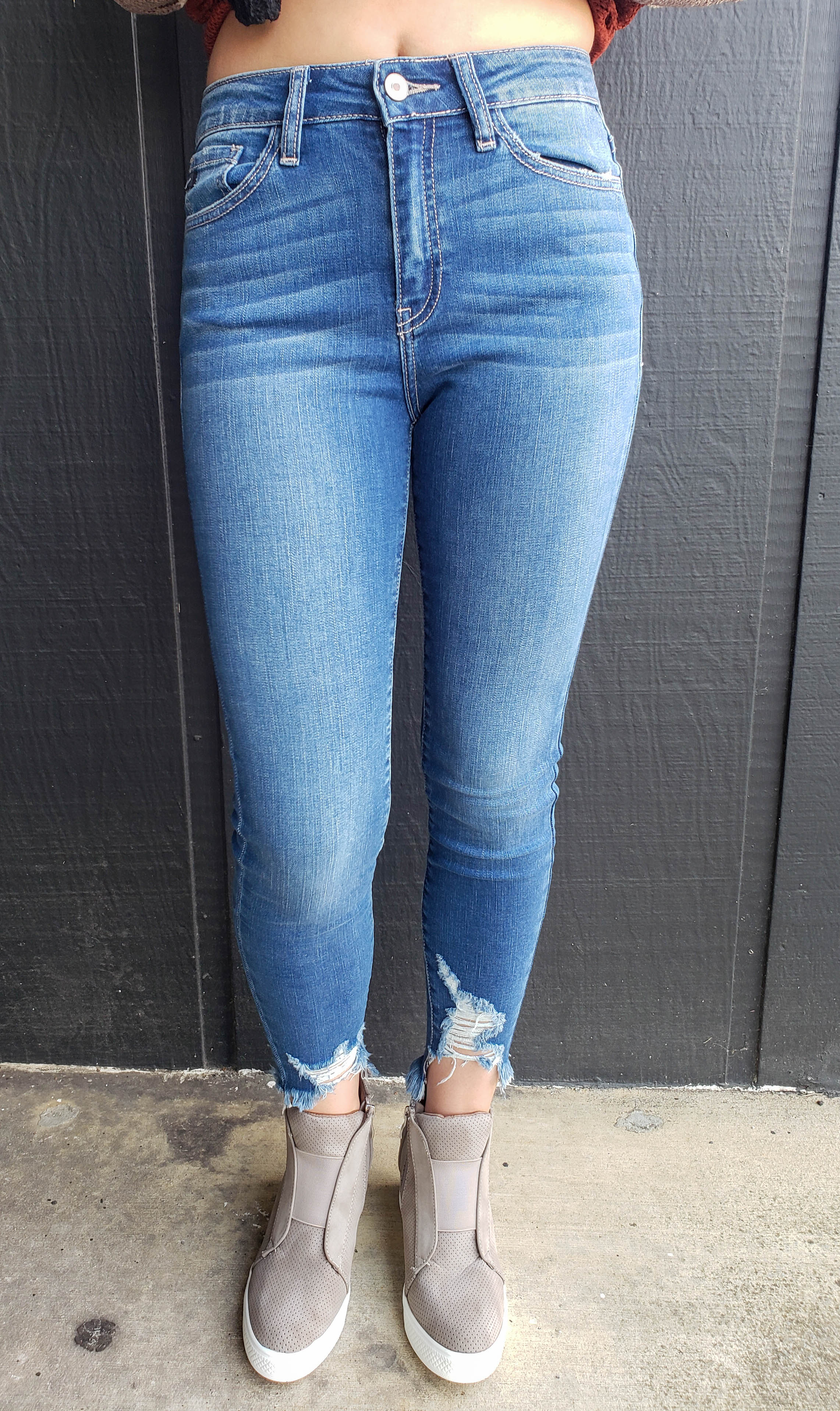 High Rise Ankle Distressed Jeans
