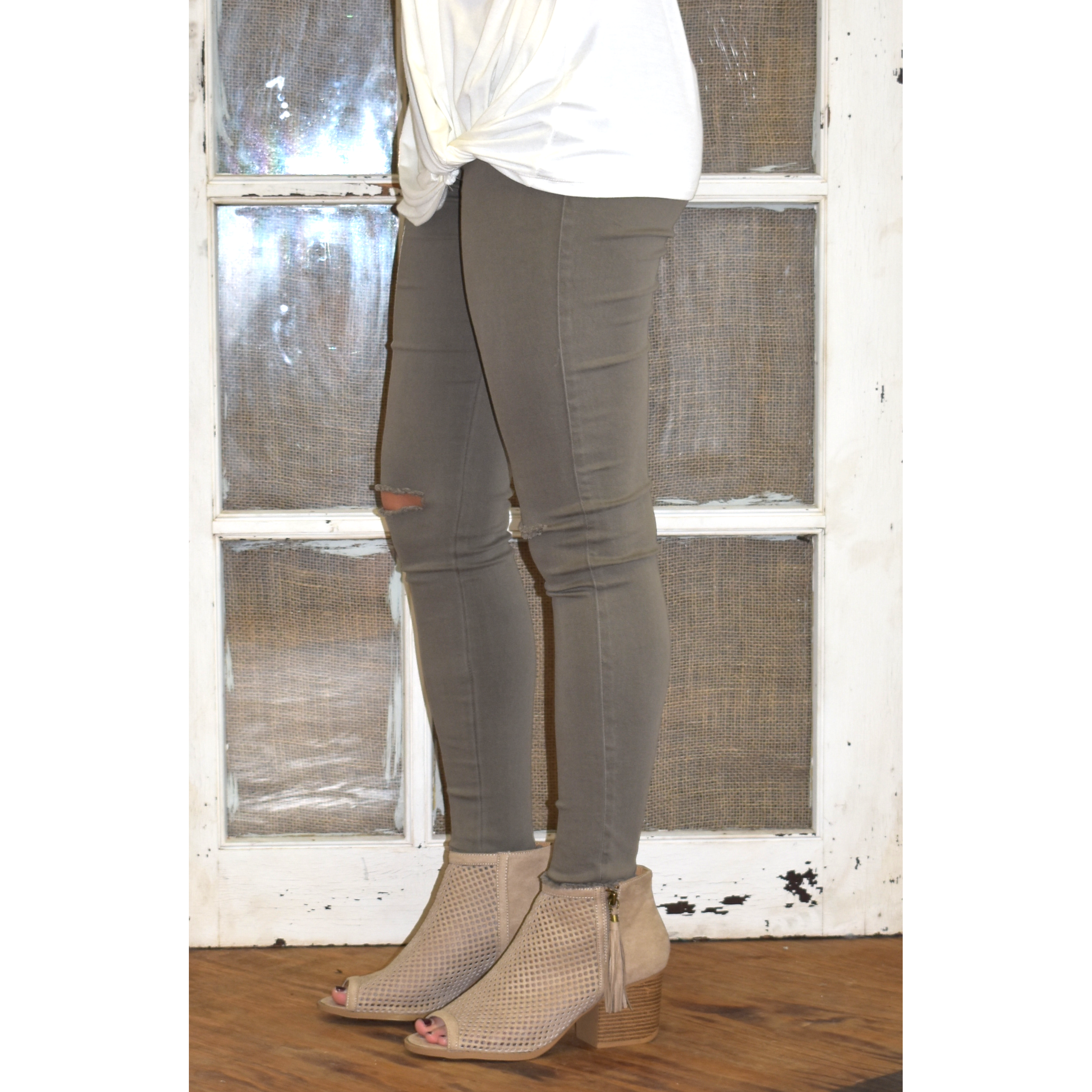 Umgee Olive Distressed Jeggings