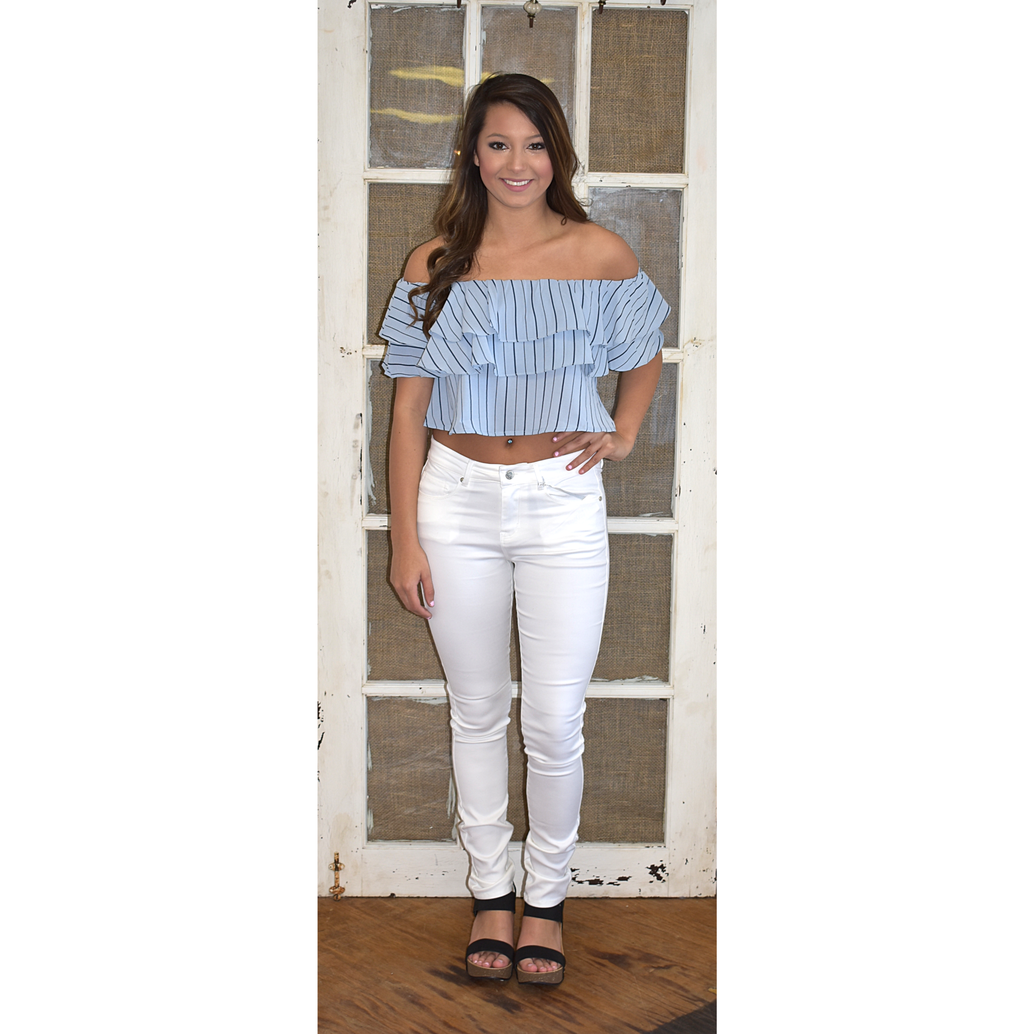 Blue Stripe Ruffled Crop Top