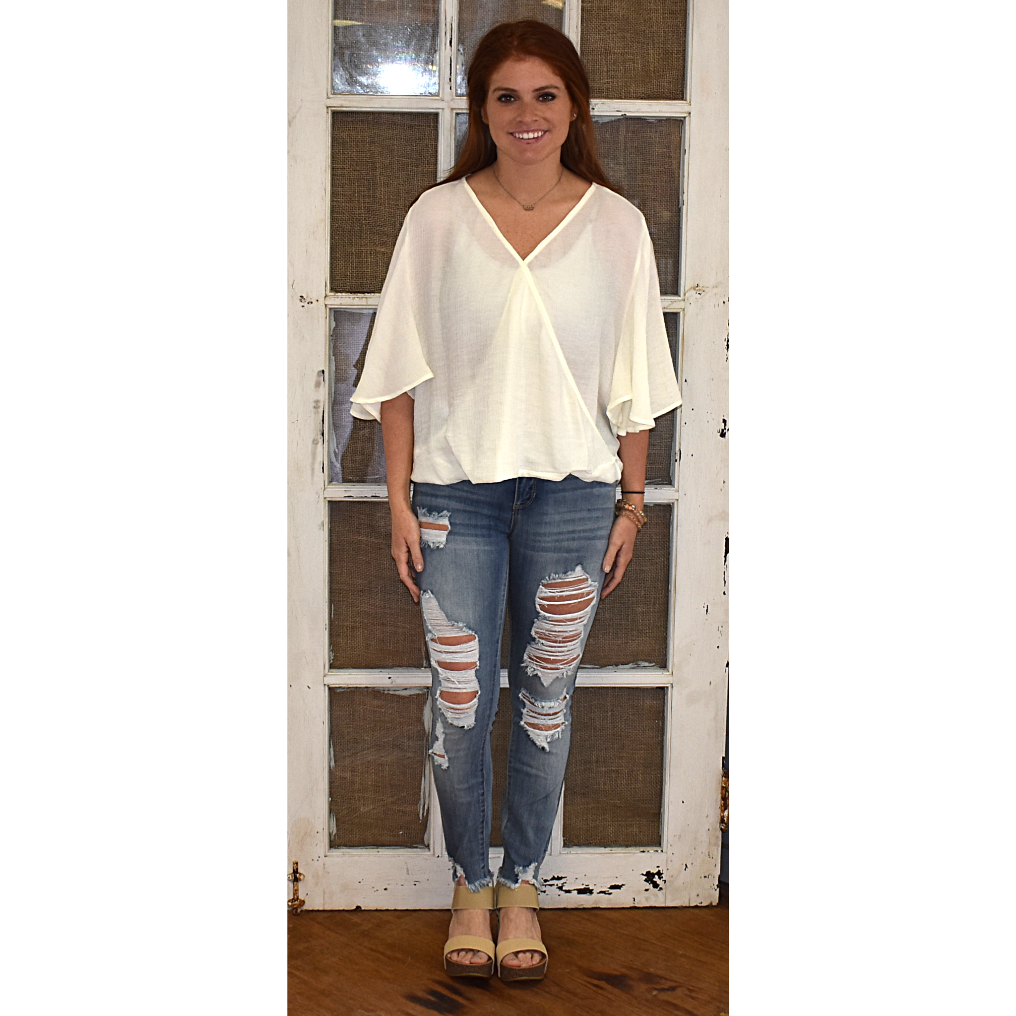 Cream Flutter Surplice Top