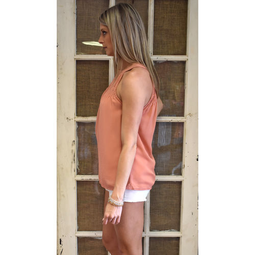 Rust Smocked Halter Neck Top