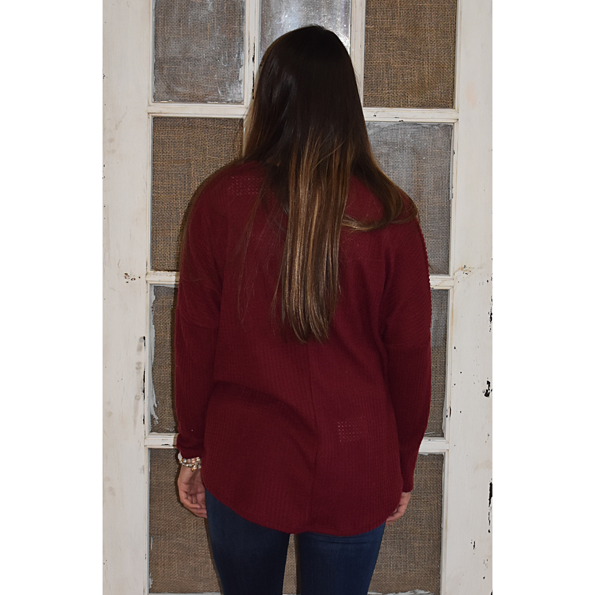 Burgundy Thermal Button Down Top