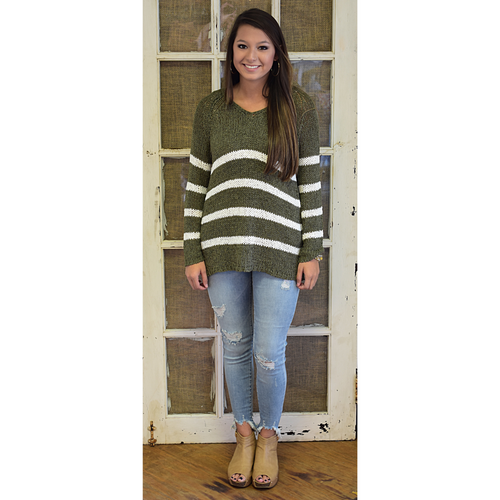 Olive Striped V-neck Sweater