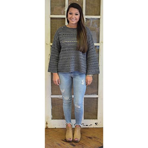 Grey Open Stitch Sweater
