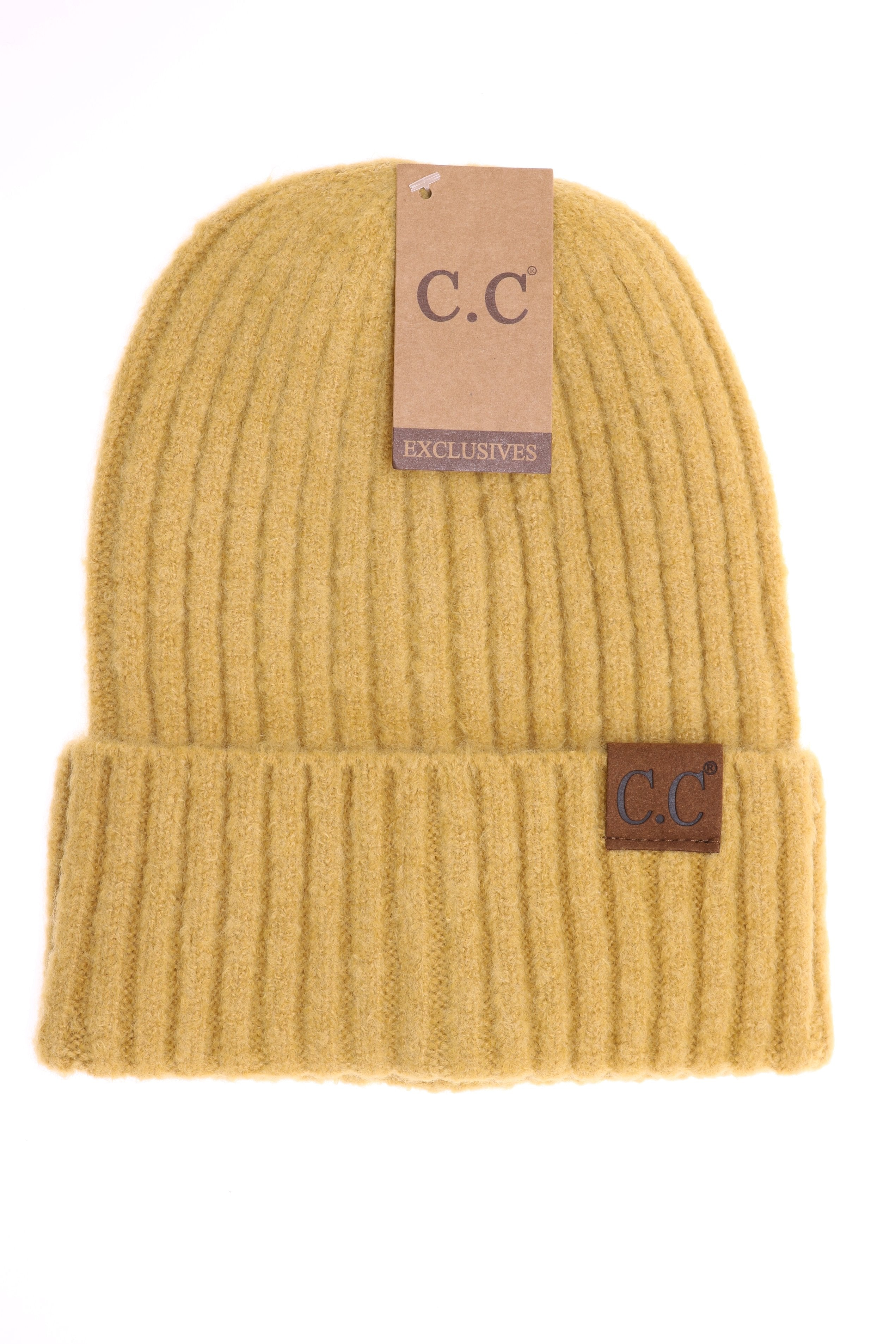 Solid Ribbed CC Beanie