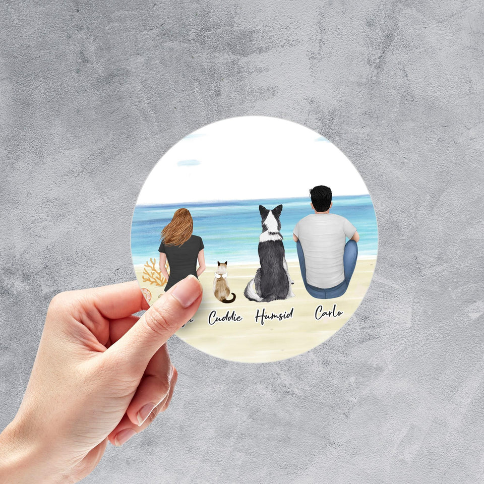 Beach Sand Circle Sticker - Pet & Owner Personalized Sticker theonlinemachine