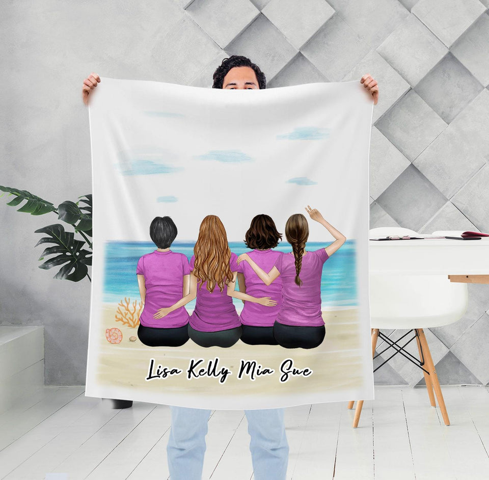 Beach Sand Personalized Best Friend Sister Blanket Blanket Gooten