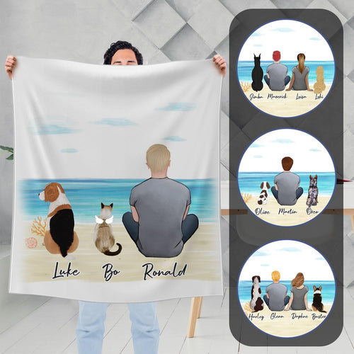 Beach Sand Personalized Pet & Owner Blanket - Custom Printed Blanket Gooten