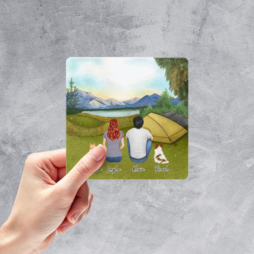 Camping Square Sticker - Personalized Pet & Owner Sticker theonlinemachine