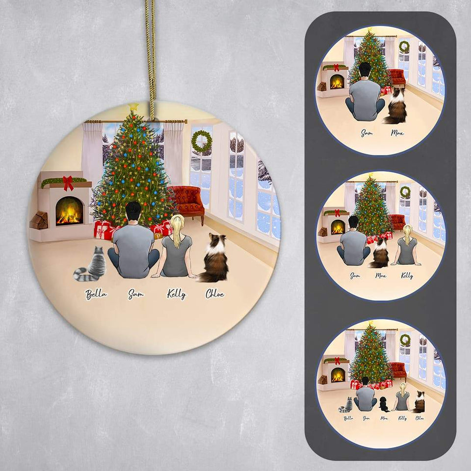 Christmas Living Room Circle Ornament - Pet & Owner Personalized Ornament Gooten