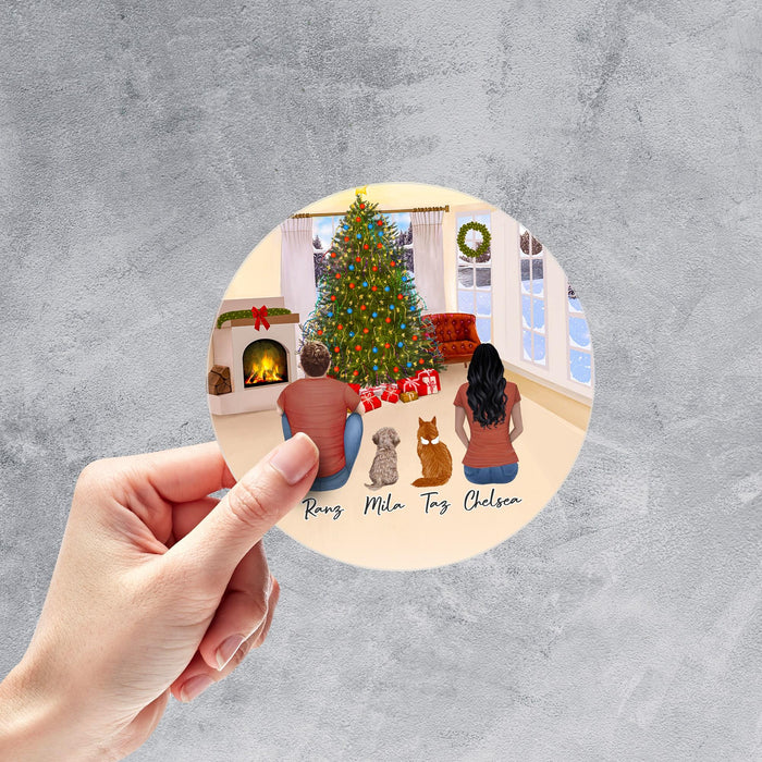 Christmas Living Room Circle Sticker - Pet & Owner Personalized Sticker theonlinemachine