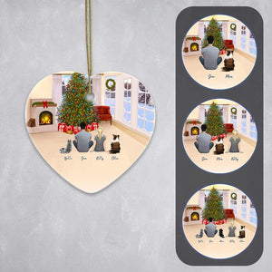Christmas Living Room Heart Ornament - Pet & Owner Personalized Ornament Gooten