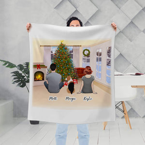 Christmas Living Room Personalized Pet & Owner Custom Printed Blanket Blanket Gooten