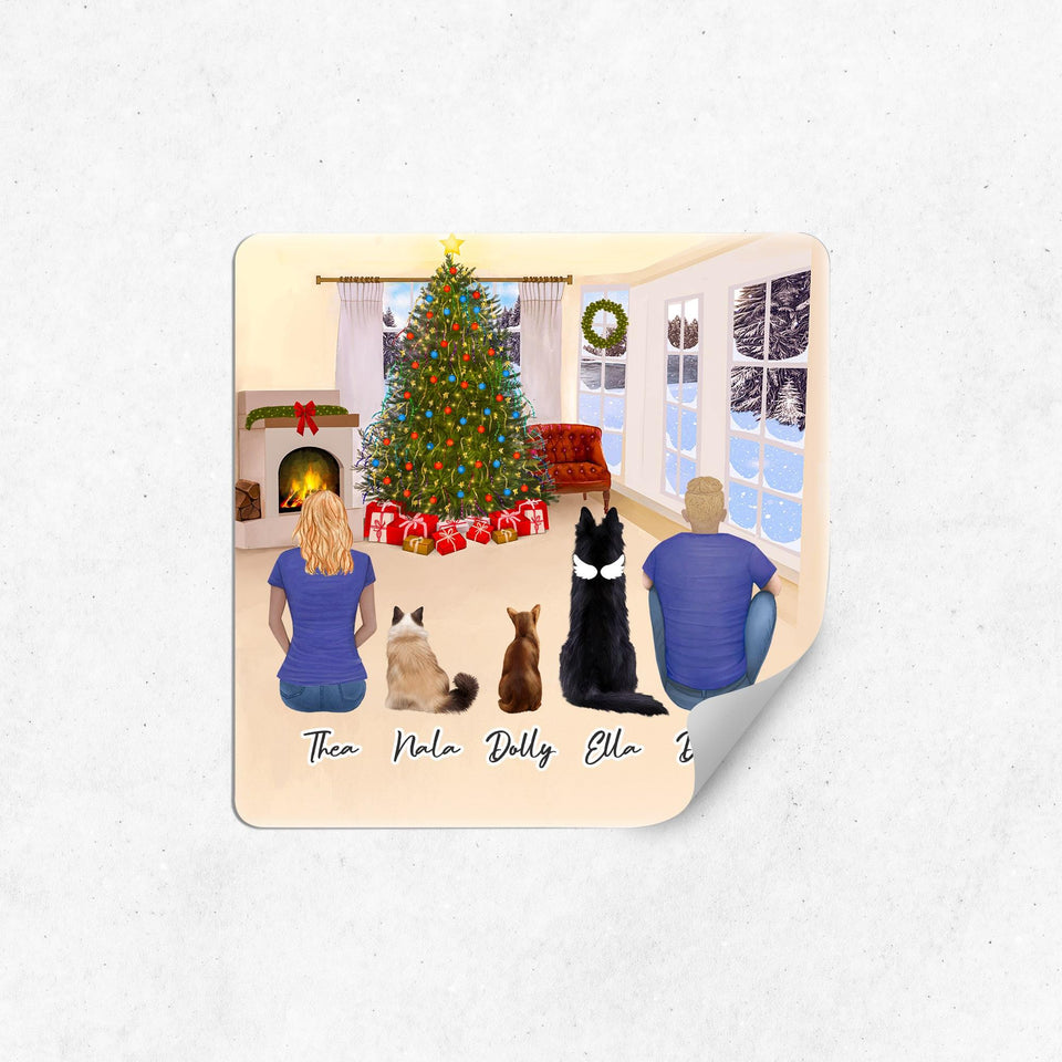 Christmas Living Room Square Sticker - Personalized Pet & Owner Sticker theonlinemachine
