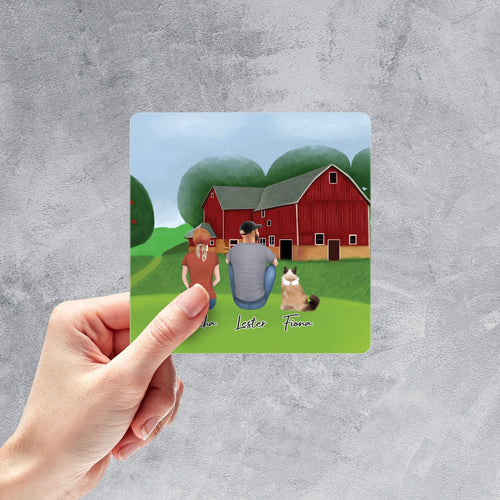 Farm Square Sticker - Personalized Pet & Owner Sticker theonlinemachine